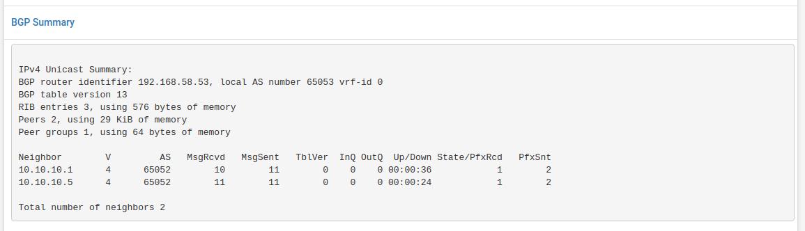 BGP Status